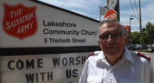 Major Bill Bower, of the Salvation Army, has been helping the Lake Shore community in Etobicoke for decades. The Sally Ann's food bank dinners for the homeless and other services are available at their 30th Street Church.
